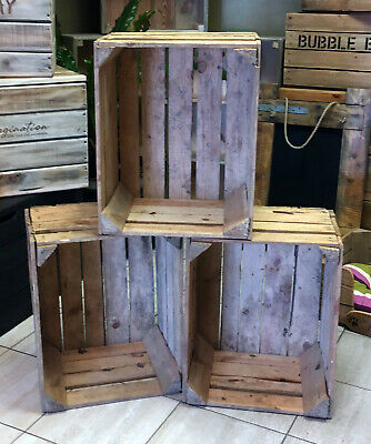 3 WOODEN Apple crates - STORAGE BOX BOXES / SHABBY CHIC VINTAGE LOOK Free Ship!