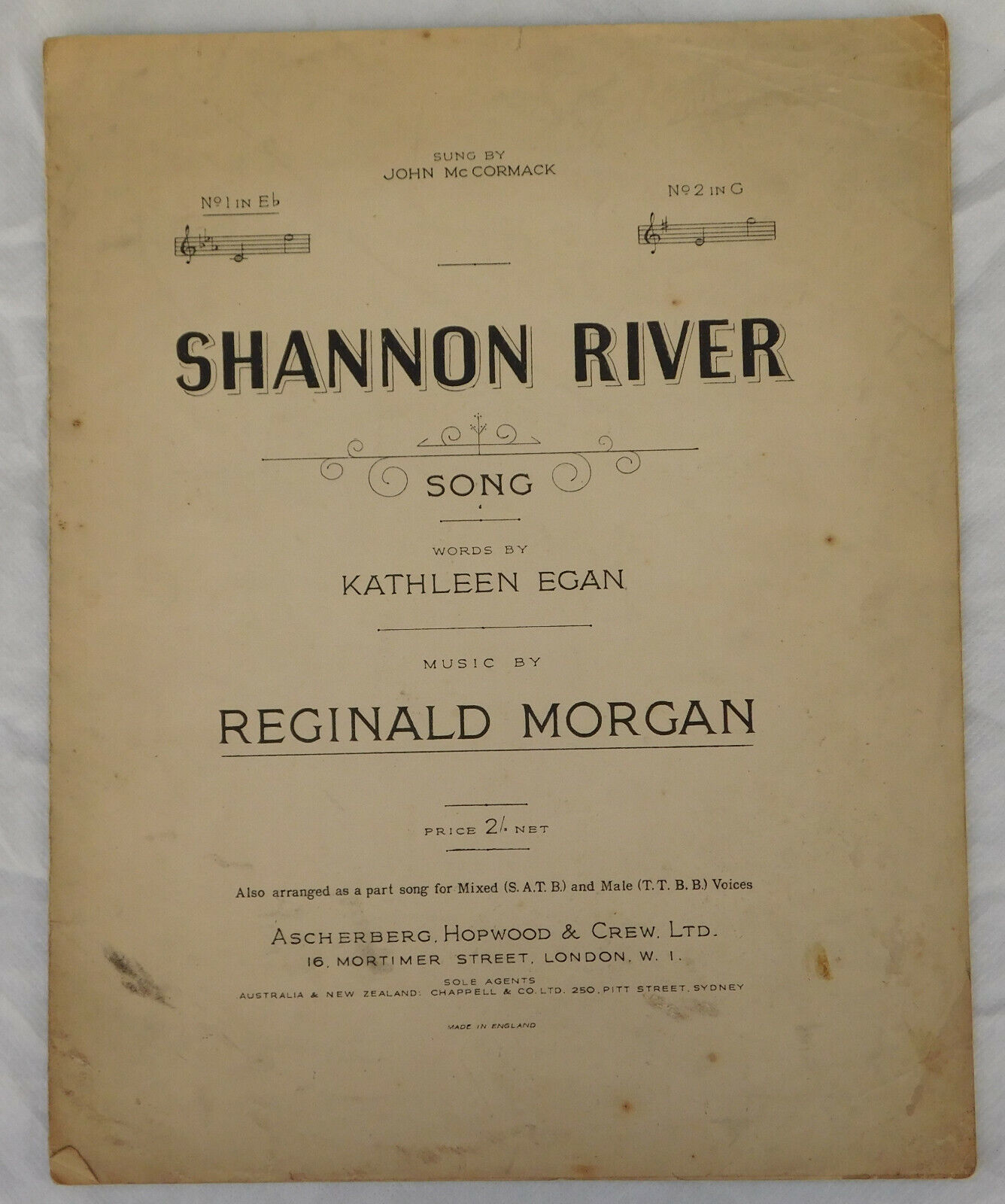 Shannon River John McCormack song vintage sheet music by Kathleen Egan R Morgan