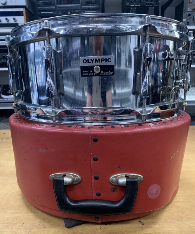 Vintage 1970s Premier Olympic Snare Drum With Original Case - Made In England