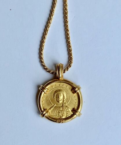 Byzantine Constantine VII Ancient Coin Jesus set in 10K Yellow Gold Frame Pendan