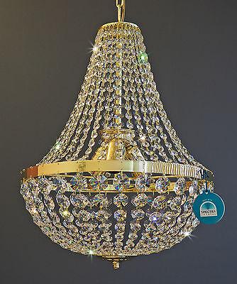 Messing, Swarovski Spectra Kristall-kronleuchter (KRISTALL KRONLEUCHTER Koblüster Ø40 mit SPECTRA® CRYSTAL SWAROVSKI Goldfarben)