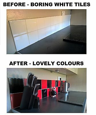 """Black & Red Stickers Transfers for  Kitchen Bathroom Tiles 6 x 6"""" 150mm 6 Inch"""