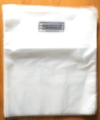 100 - 14x16 Clear Poly Plastic Bags Packaging Shipping Lay-Flat Safety Warning