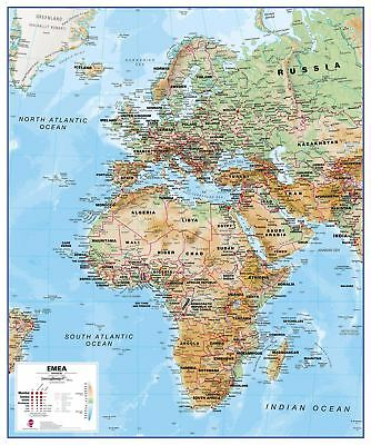 Europa Naher Osten Afrika EMEA Physical-Karten-Plakat Größe & Finish-Optionen