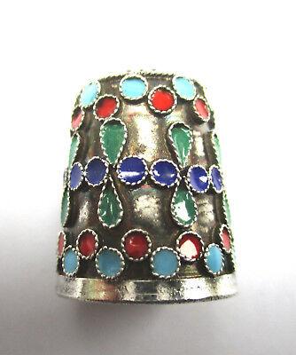 Vintage Russian Silver and enamel (cloisonne) thimble