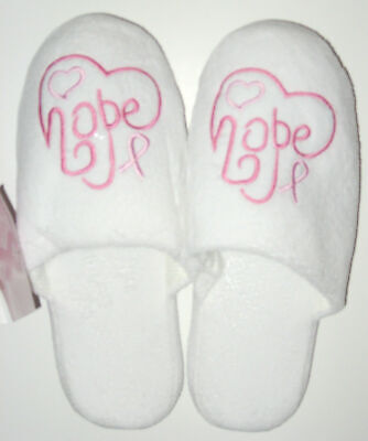 Breast Cancer Awareness Pink Ribbon Womens Slippers Shoe Size 5 - 6 -
