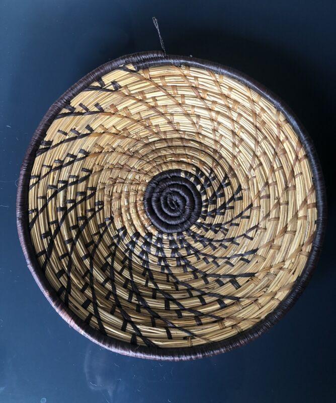 """Hand Woven Grass African Bowl Basket Wall Boho Decor Wall 12"""""""