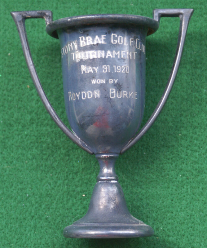 RARE !!!  VINTAGE 1920 SILVER GOLF TROPHY from STONY BRAE GOLF CLUB