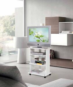 Mobile carrello porta tv bianco in legno con ruote a vari scomparti ebay - Carrello porta tv meliconi ...