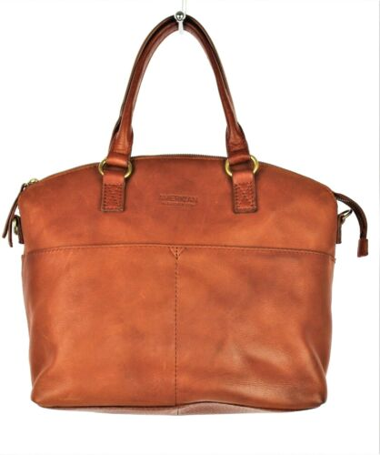 AMERICAN LEATHER CO. Brown Handbag Dome Satchel Soft Glove Leather Double Handle