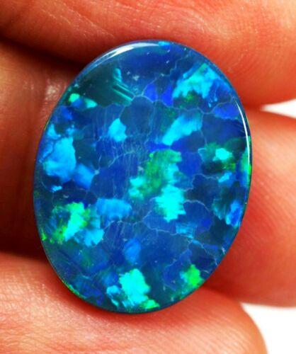 Beautiful Green Blue  Natural Andamooka Opal Doublet 18x14x4 mm