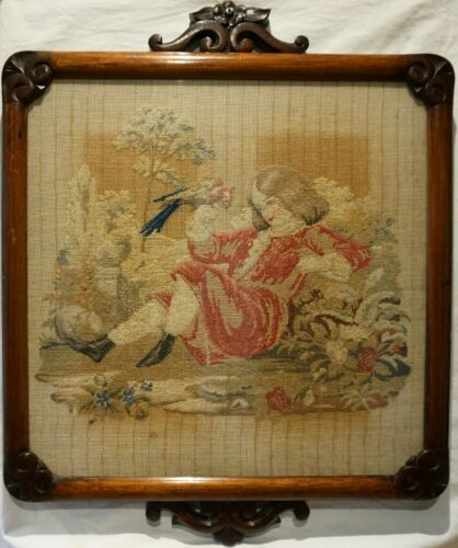MID 19TH CENTURY NEEDLEPOINT OF A YOUNG BOY WITH HIS PET PARROT - c.1870