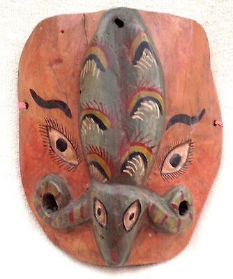 Vintage Stylized Mexican Wooden Nahua Mask - Mexico Folk Art
