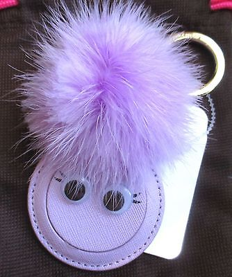 Kate Spade Mink Pom Pom Monster Mirror Key Chain Fob Keychain Charm w/Dust Bag