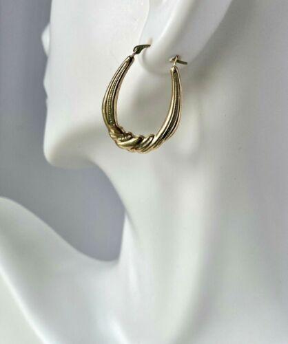14K Gold Swirl Hoop Earrings Isreal Snap Closure VINTAGE Solid Gold