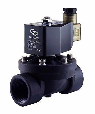 1 Pulgadas Eléctrico Plástico Solenoide Aire Gas Agua Válvula Normalmente
