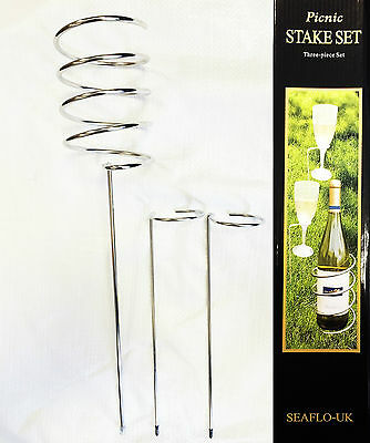 PICNIC WINE BOTTLE and GLASS HOLDER STAKES SET Camping Beach OUTDOOR BBQ'S