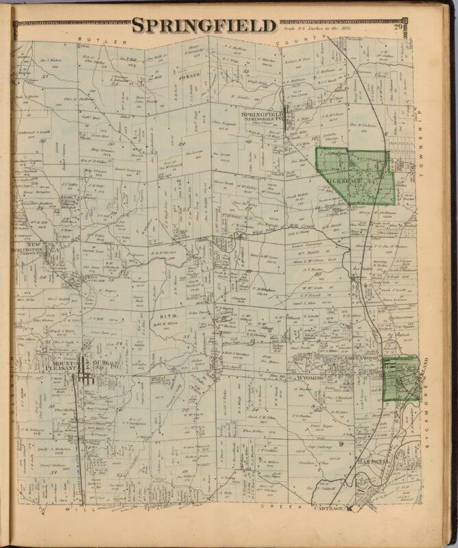1869 HAMILTON COUNTY OHIO Atlas GENEALOGY plat maps state old LAND OWNER DVD P10