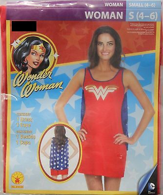 WONDER WOMAN ADULT COSTUME Small 4-6 Superhero Cape Halloween Cosplay Rubies NEW