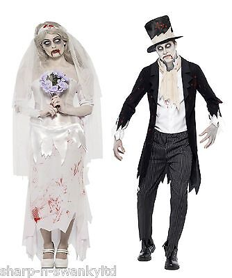 Mens Ladies Couples Fancy Dress Zombie Bride & Groom Halloween Costumes Outfits