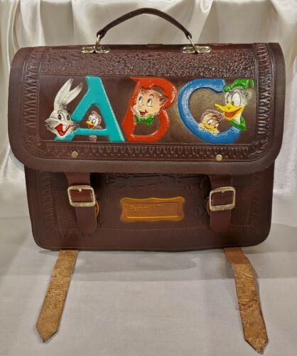 RARE Vintage Disney Chars. Tooled Leather Book Bag / Messenger Bag - Brown