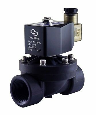 Plastic Zero Differential Electric Solenoid Water Process Valve 1 Inch 110v Ac