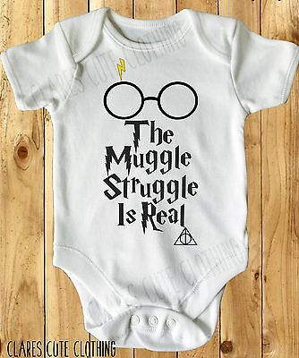 THE MUGGLE STRUGGLE HARRY POTTER  BABY VEST/ GROW WHITE all sizes available ()