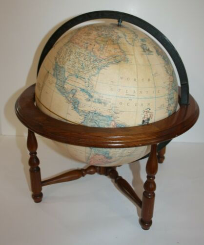 "Rand McNally Terrestrial World Globe 12"" on Wood Stand"
