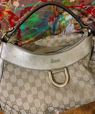 Gucci GG Canvas D-Gold Hobo Bag/ Vintage