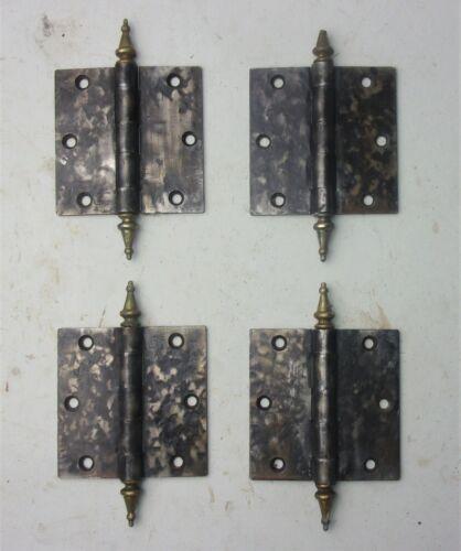 """4 Antique Vintage STANLEY SW Door Hinges 3.5"""" x 3.5"""" Brass Steeple Tips"""