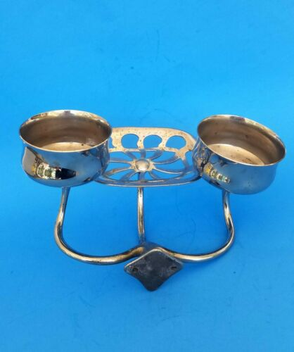 Antique Nickel Brass Double Cup Holder Soap Dish Wall Mounted Vintage Bathroom