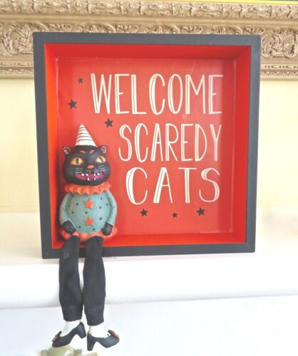 RETRO HALLOWEEN BLACK CAT SITTING IN FRAME table sitter / plaque NEW WITH TAG