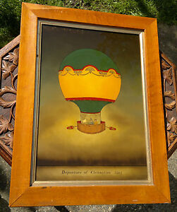 Early 20th Century Reverse Glass Painting of Balloon 'Departure of Clementine'