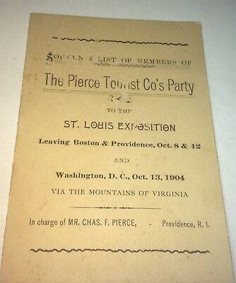 Rare Antique American Tourist Party Members List, Trip to St. Louis - Tourist Party