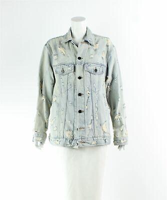 DENIM X ALEXANDER WANG Distressed Blue Cotton Denim Jacket, Size XS