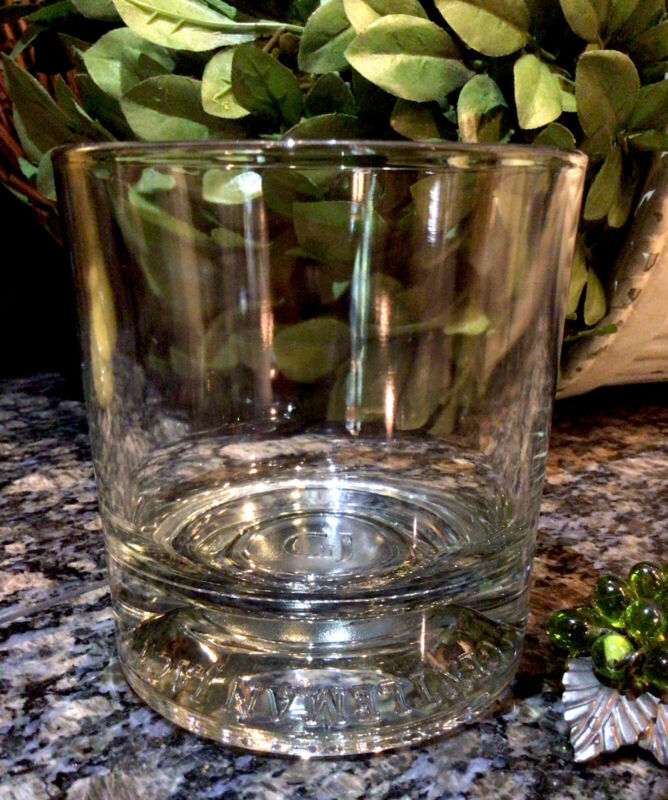 Rare Vintage GENTLEMAN JACK ~ GJ  Embossed Base Heavy Rocks Glass  PRISTINE!