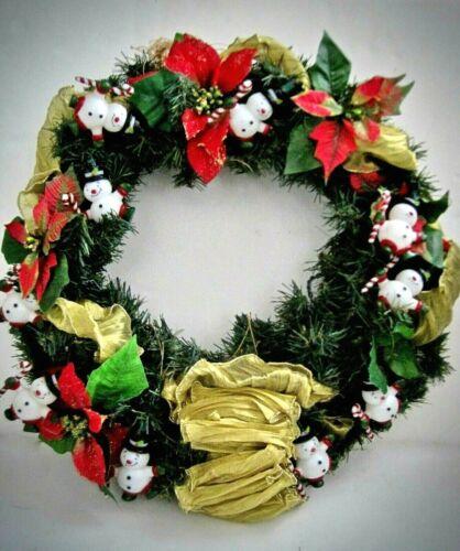 """Lighted Snowman Christmas Wreath 20"""""""