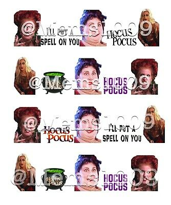 Hocus Pocus Nail Art (water decals) Witch Halloween Nail Art Decals
