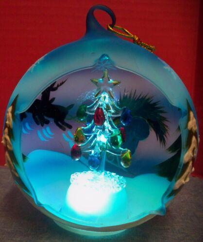 Sorelle Handpainted Blown Glass Ornament Winter Sky Tree Colored Light Orig Box