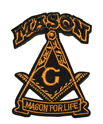 Mason For Life Embroidered Patch Iron/Sew-On Applique Freemasonry Lodge