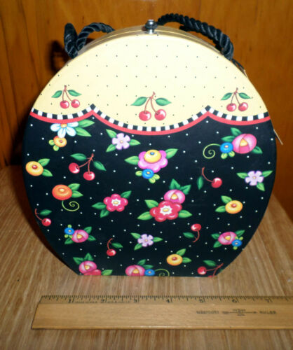 Rare MARY ENGELBREIT Fried Flowers Box with Cord Handles and Stationary