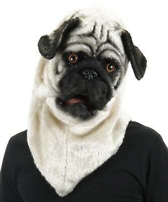 Adult Pug Costume (elope Mouth Mover Pug Mask Dog Costume Full Overhead Adult Mens Womens)