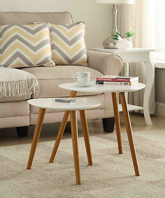 Convenience Concepts Oslo Nesting End Tables White & Natural