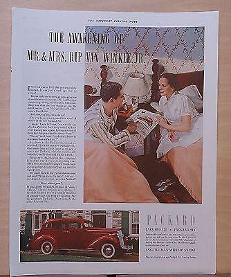 1937 magazine ad for Packard - Rip Van Winkle couple awakes, buys Touring Sedan