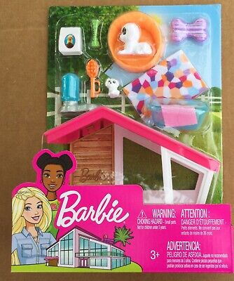 Barbie Indoor Furniture Dog House & Accessories Playset NEW