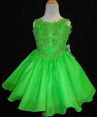 Baby Toddler Little Girl Pageant Flower Girl Dance Formal Short Dress Green