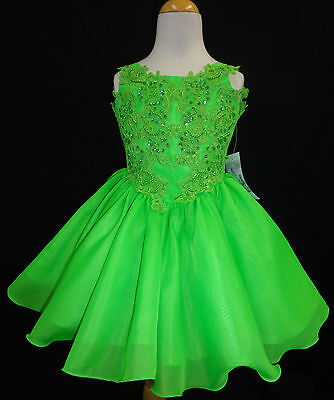 Baby Toddler Little Girl Pageant Flower Girl Dance Formal Short Dress Green