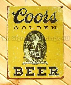 Coors Golden TIN SIGN vintage beer bar pub metal 1648