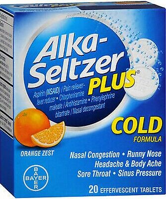 Alka-Seltzer Plus COLD Formula Orange Zest 20 Effervescent Tabs