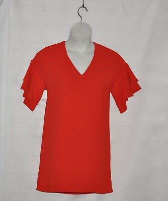 Zara Woman V-Neck Tunic with Bell Sleeves Size XS Red